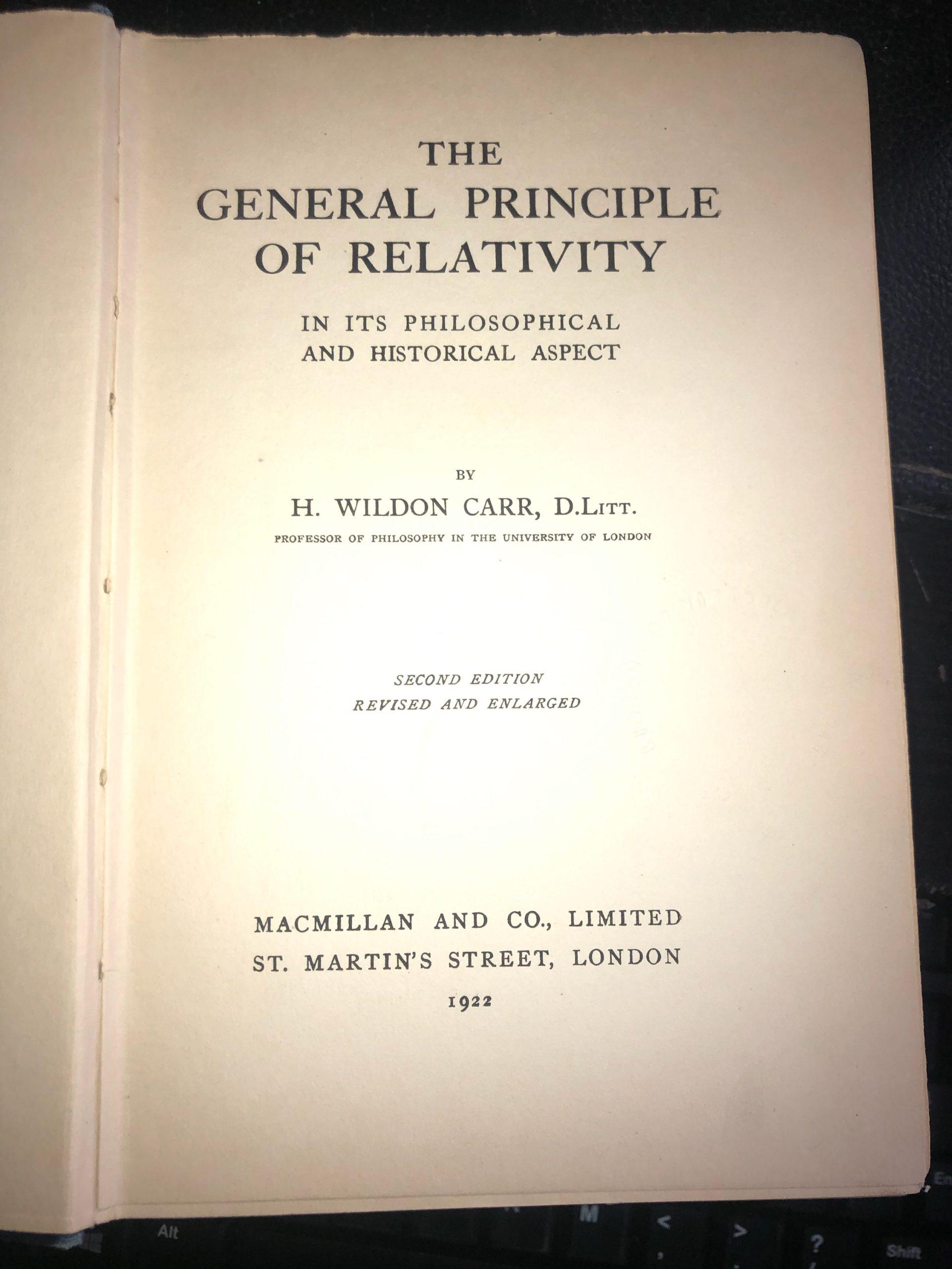 The General Principle of Relativity book image