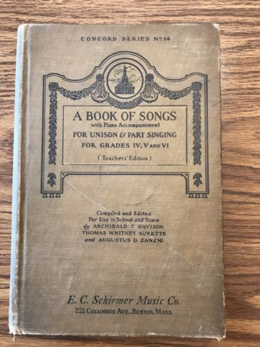 A Book of Songs for Grades 4, 5 and 6; 1922, Concord Series No. 14 book image
