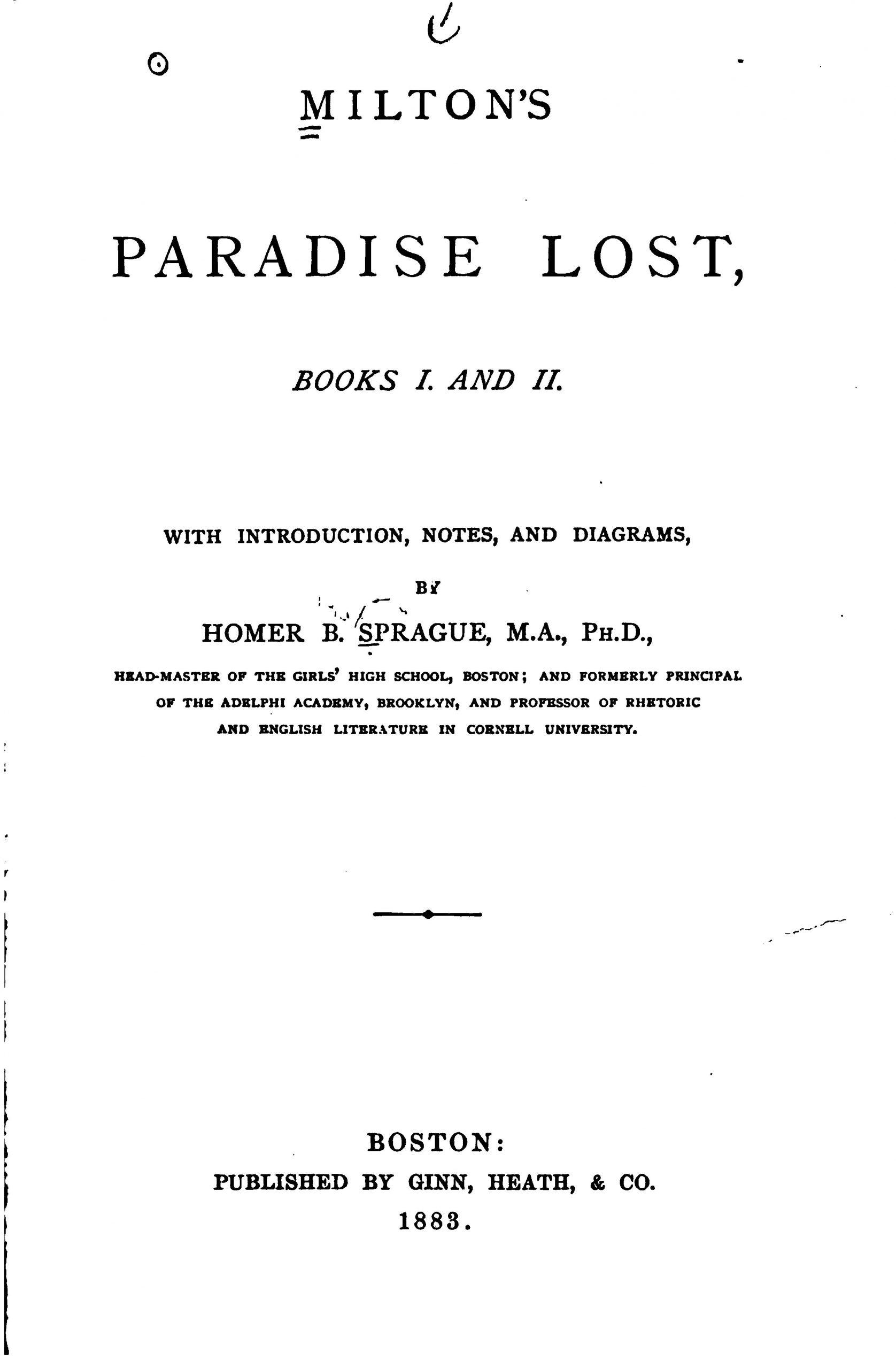 Milton's Paradise Lost, Books I and II & Lycidas book image